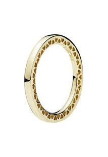 Anel Corações- Dourado- Tamanho 50 = 10- Pandorapandora