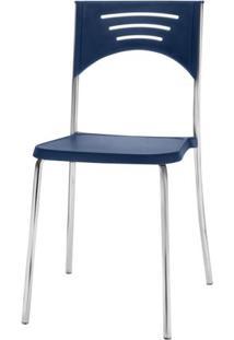 Cadeira Bliss Assento Azul Base Cromada - 53717 - Sun House
