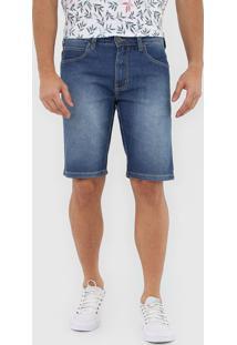 Bermuda Jeans Colcci Reta Pespontos Azul - Kanui