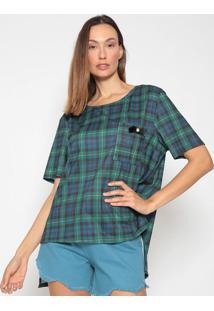 Camiseta Xadrez Com Bolso - Verde Escuro & Azul Escuro