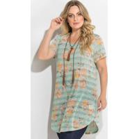 94753030e Posthaus. Blusa Alongada Mix De Estampas Plus Size
