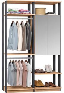 Closet Modulado 1 Armário C/ Espelho E 2 Cabideiros Clothes 9015 – Be Mobiliário - Carvalho Mel / Espresso
