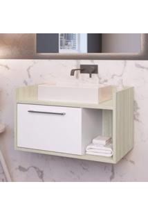 Gabinete Para Banheiro 1 Porta Ben Estilare Móveis Branco/Madeirado
