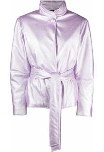 Gina Belted Faux-Leather Jacket - Roxo