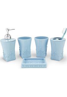 Kit Banheiro Com 5 Peças Jacki Design - Unissex-Azul