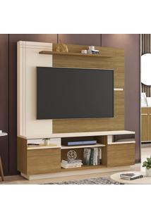 Estante Para Tv Até 60 Polegadas Aruba 2 Portas Com Espelho Cinamomo/Off White - Móveis Bechara