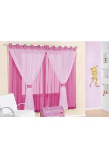 Cortina Juvenil Para Varão Simples 3M Pink Rose Jordao