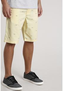 Bermuda Masculina Reta Estampada Mini Print Amarela