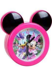Relógio Analógico Despertador Minnie®- Rosa & Preto-Etilux