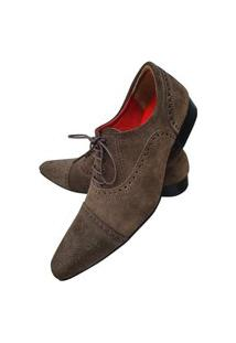 Sapato Masculino Italiano Oxford Em Camurça Art Sapatos Marrom
