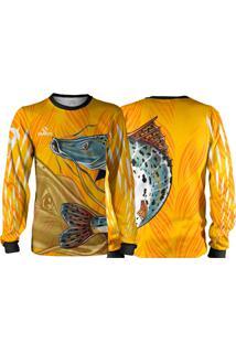 Camisa Pesca Quisty Pintado Moleque Amarelo Proteção Uv Dryfit Infantil/Adulto - Kanui