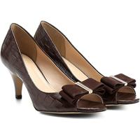 70970f86f Peep Toe Couro Shoestock Laço - Feminino-Marrom