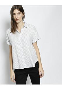Camisa Com Manga Dobrada- Branca   Azullevi S d0bf3863c73