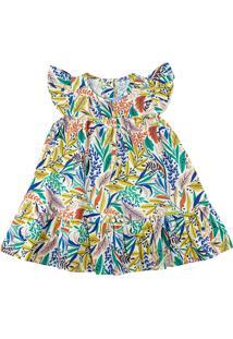 Vestido Infantil Tricoline Ano Zero Estampa Digital Folhas Coloridas Natural