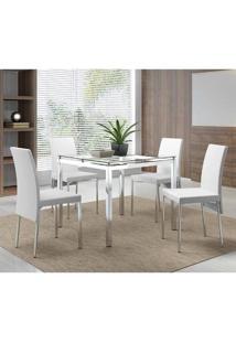 Sala De Jantar Carraro Mesa 326 95Cm+4 Cadeiras Crom/Branco