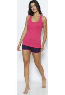 45c6b73211 Short Doll Corações Com Bordado   Poás- Pink   Azul Maridaniela Tombini