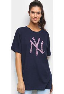 Camiseta Mlb New York Yankees New Era Feminina - Feminino-Marinho