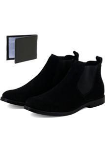 Bota Chelsea Boots Lisa Sir.W Couro Camurça + Brinde Carteira Em Sintético