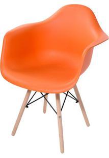 Cadeira Arm Com Braco Laranja Fosco Base Madeira Clara - 51958 - Sun House