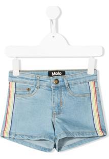 Molo Kids Short Jeans Com Acabamento Arco-Íris - Azul