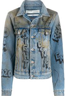 Off-White Jaqueta Jeans Com Efeito Destroyed - Azul