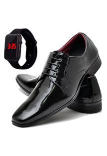 Sapato Social Masculino Db Now Com Relógio Led Dubuy 819Od Preto
