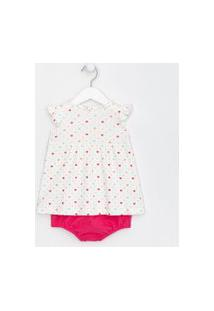 Vestido Infantil Estampa Poá Coração Com Frufru E Calcinha - Tam 0 A 18 Meses   Teddy Boom (0 A 18 Meses)   Branco   6-9M