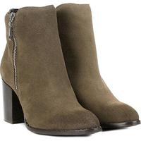 5146c40ef Bota Couro Cano Curto Shoestock Salto Bloco Feminina - Feminino-Cinza
