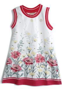 Vestido Milon Floral Branco/Vermelho