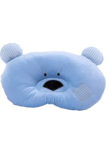 Travesseiro Ursinho - Azul Claro & Preto- 6X33X15Cm Bicho Molhado