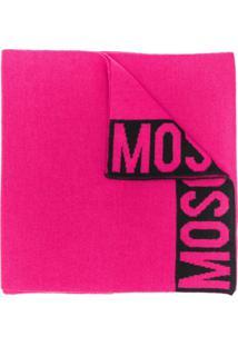 Moschino Cachecol Com Acabamento De Logo - Rosa