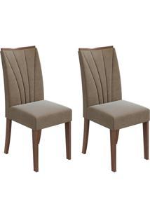 Conjunto Com 2 Cadeiras Apogeu L Imbuia E Bege
