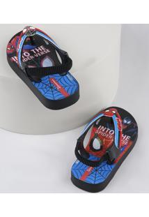 Chinelo Infantil Ipanema Homem Aranha Com Elástico Preto