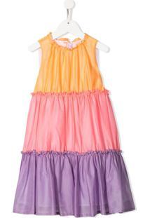 Il Gufo Vestido Evasê Color Block - Rosa