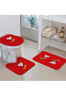 Jogo Banheiro Dourados Enxovais Copo De Leite Vermelho