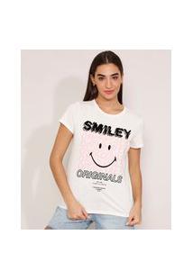 Camiseta De Algodão Smiley Flocada Manga Curta Decote Redondo Off White