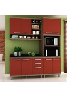 Cozinha Compacta New Vitoria 13 Avelã Tx/Rubi - Hecol