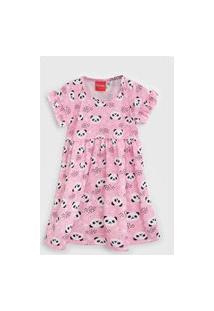 Vestido Tricae Infantil Panda Rosa/Branco