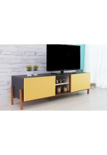 Rack De Tv Preto Moderno Vintage Retrô Com 2 Portas Amarela Eric - 166X43,6X48,5 Cm