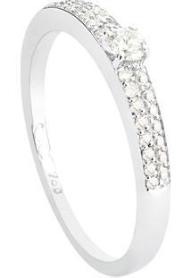Anel De Ouro Branco 18K Solitário Com Meia Aliança Pavê De Diamantes-Coleção Nanda