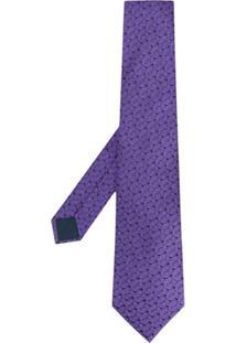 Lanvin Gravata Com Padronagem Geométrica - Roxo