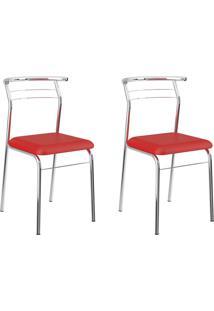 Kit 2 Cadeiras 1708 Vermelho Real/Cromado - Carraro Móveis