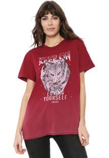 Camiseta Colcci Aplicações Vinho