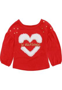 Camiseta Kyly Menina Coração Vermelha