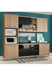 Cozinha Compacta Com Tampo 12 Portas 5815 Argila/Preto - Multimóveis