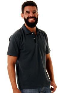 0e149b400 Camisa Polo Básica Oitavo Ato Cinza Chumbo Encolhimento Zero