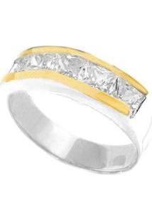 Anel De Prata C/ 2 Filetes De Ouro E Zircônia - Unissex-Prata