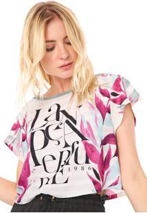 Camiseta Cropped Lança Perfume Floral Branca/Rosa