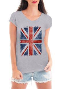 Camiseta Criativa Urbana Bandeira Londres Cinza - Kanui