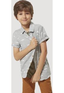 Camisa Infantil Menino Manga Curta Em Linho Hering Kids